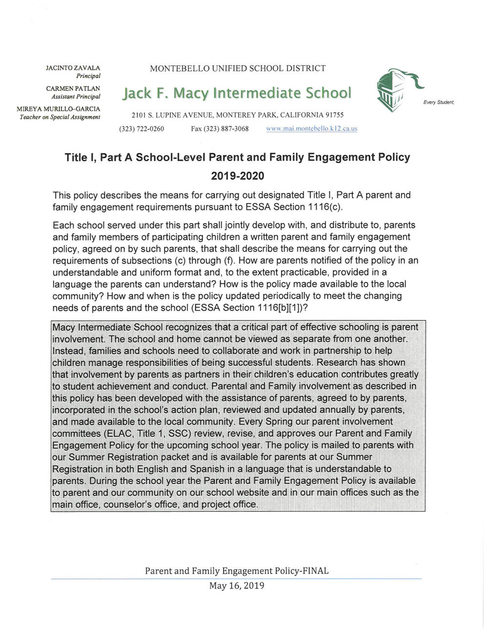Parent   Family Engagement Policy English
